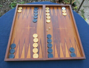OLD ANTIQUE WOODEN HAND MADE BACKGAMMON WITH ALL PIECES CHECKERS