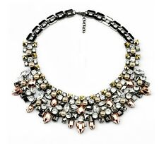"Plastron ""Le Sublime"" perle et cristaux - (Collier hematite necklace statement)"