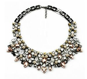 """Dickey """" The Sublime """" Pearl And Crystals - (Necklace Hematite Necklace"""