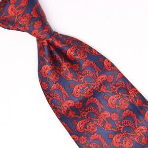Lanvin Paris Mens Silk Necktie Blue Red Paisley Print Satin Gloss Smooth Tie