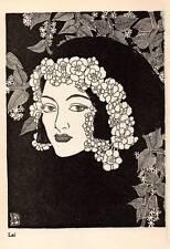 "1944 Original Don Blanding Art Deco Vintage Print ""Lei"""