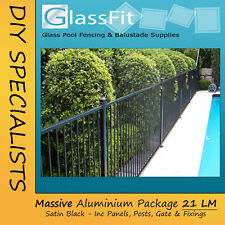 Pool Fence Flat Top Aluminium Package 21m Soil Posts Pool Compliant