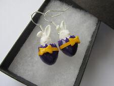 Handmade Miniature Easter Inspired - Bunny & Purple Egg Earrings - Gift Boxed