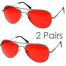 2 Pairs Mens Retro Classic Metal Aviator Red Lens UV Sunglasses Spring Hinge