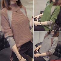 Winter Womens Irregular Pullover Long Sleeve Slim Knit Sweater Shirt Blouse Tops