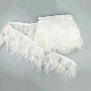 1M Weiß Türkei Feder Fringe Spitzenborte für DIY Nähen Millinery Kostüm Dekor