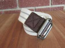 Men's Canvas Leather Belt Size Small American Eagle AEO Ivory Green D Ring New