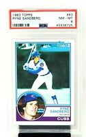 1983 Topps HOF RC Chicago Cubs RYNE SANDBERG Rookie Baseball Card PSA 8 NM-MINT
