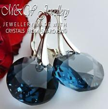 925 STERLING SILVER EARRINGS CRYSTALS FROM SWAROVSKI® CLASSIC CUT MONTANA 14MM