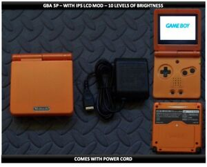 Nintendo Game Boy Advance GBA SP IPS MOD System 10 Level Brightness  Dark Orange