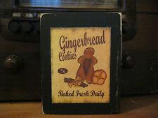 Gingerbread Cookies Country Primitive Rustic Wooden Block Shelf Sitter 3.5X4.5