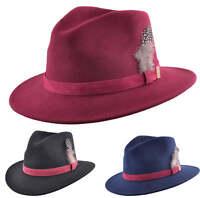 Mens Ladies 100% Wool Felt Crushable Fedora Trilby Hat Feather Black Navy Wine