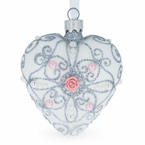 Silver Color Heart with Pink Rose Glass Heart Christmas Ornament