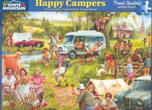James Mitchell  White Mountain Jigsaw Puzzle Happy Campers 1 piece missing