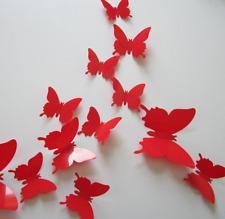 12 Papillons 3D ROUGE autocollants PVC Déco Mur/SDB/Porte/Chambre