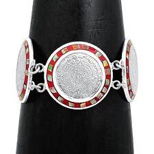 "8"" Fire Opal Aztec Calendar Bracelet from Taxco Mexico"