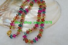 "Hand Made 5x8mm Multicolor Tourmaline Rondelle Beads Gemstones Necklace 20""AAA"