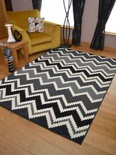 Black Grey Zig Zag Small Extra Large Big Huge Size Floor Carpet Rugs Mat Cheap