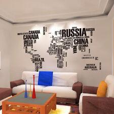 Removable World Map Words Mural Vinyl Wall Decals Sticker Living Room Decor Art