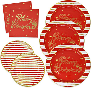 Elegant Christmas Paper Plates and Napkins for 50 Guests in Gold Foil and Red in