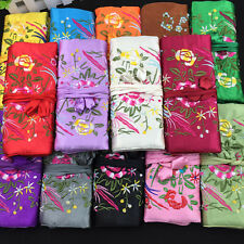 wholesale 10PCS EMBROIDERED BROCADE SILK JEWELRY ROLLS case pouch