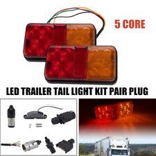 LED 2W CAR TRUCK TRAILER TAIL LIGHT KIT PAIR PLUG 5 CORE WIRE CARAVAN BOAT UTE
