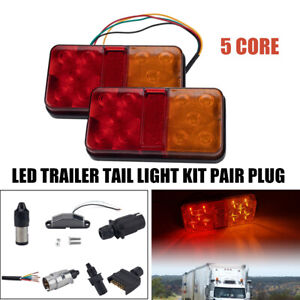 LED 2W CAR TRUCK TRAILER TAIL LIGHT KIT PAIR PLUG 5 CORE WIRE CARAVAN BOAT UTE