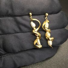14K SOLID GOLD FRESHWATER PEARL SPIRAL DANGLE EARRINGS JCM