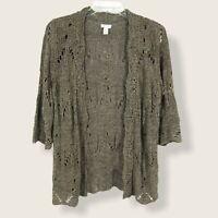Chicos Crochet Open Front Cardigan crochet Sweater 3/4 Sleeve Sz 2 Light brown