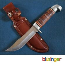 Vintage WESTERN USA 66 Stacked Leather Bowie Hunting Knife EXC+