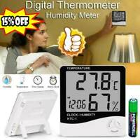 Digital LCD Thermometer Hygrometer Humidity-Meter Room Indoor Temperature Clock