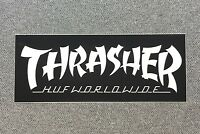 THRASHER HUF WORLDWIDE Skateboard Sticker 5in white/black si