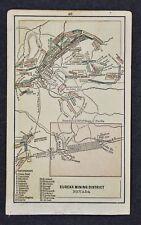 1882 Miniature Map - Eureka Mining District Nevada #2 Gold Mines - Adam's Hill