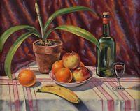Arthur Horsfall 1914-95 Still Life Oil Painting Fruit & Wine Canadian Listed