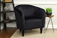 Mainstays Tub Accent Chair Upholstery Microfiber Padded Seat Comfortable, Black