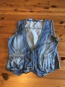 Look Size 12 Blue Denim Waistcoat 3 Buttons Pockets Sleeveless V Neck
