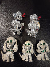 Vintage Brooch Pins Lot (5) Dogs Poodles Spaniels Beautiful!