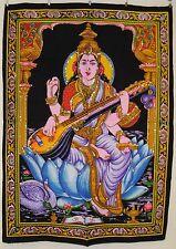 Indian Goddess Saraswati Sequinned Cotton Wall Hanging * Fair Trade * Large