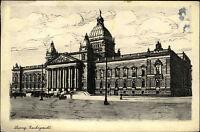 Leipzig Sachsen AK 1939 Reichsgericht Gericht Zeichnung gelaufen nach Meiningen