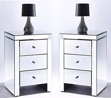 Bedroom Set x 2 Chic Mirrored Glass Nightstand Beside Table Three Drawers Chest