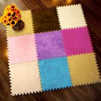 25X25cm Kids Carpet Foam Puzzle Mat EVA Shaggy Velvet Baby Eco Floor 7 colors