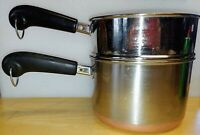 Revere Ware 3 Qt Pot Copper Bottom Stainless w Steamer Clinton IL 1801 88 no Lid