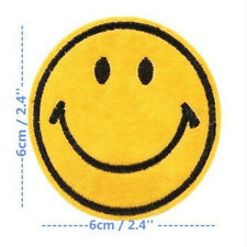Happy Smile Face Yellow Iron On Applique Embroidered Patch DIY Sewing New