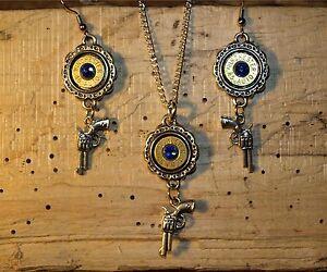 Handmade Bullet Necklace & Earrings,Nickel 45's, Gun Charms & Crystal S-619