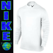 Nike Men's Size M Hyperwarm Base Layer Fitted Mock Training Top 748869 White