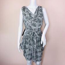 Bebe Dress Medium NEW Gray Animal Print Drape Sleeveless $129