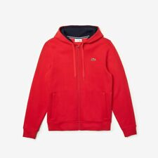Lacoste - Men's Sport Full-Zip Fleece Hoodie - Red/Navy Blue, Large