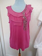 BNWT HOT PINK STRETCH TOP WITH DIAMANTE & SEQUIN DETAIL BY KALEIDOSCOPE SZ 20