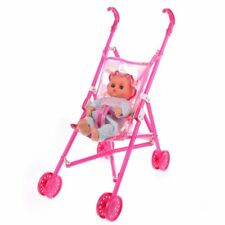 R1D9 Dolls Buggy Stroller Pushchair Pram Foldable Toy Doll Pram Baby Doll SH V3R