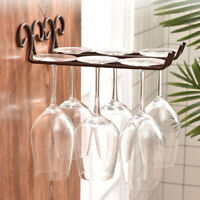 HB- JN_ Metal Wall Mounted Wine Glass Hanging Rack Goblet Cup Stemware Bar Holde